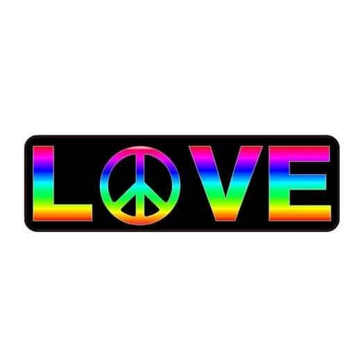 Rainbow LOVE Peace Gay Pride Sticker