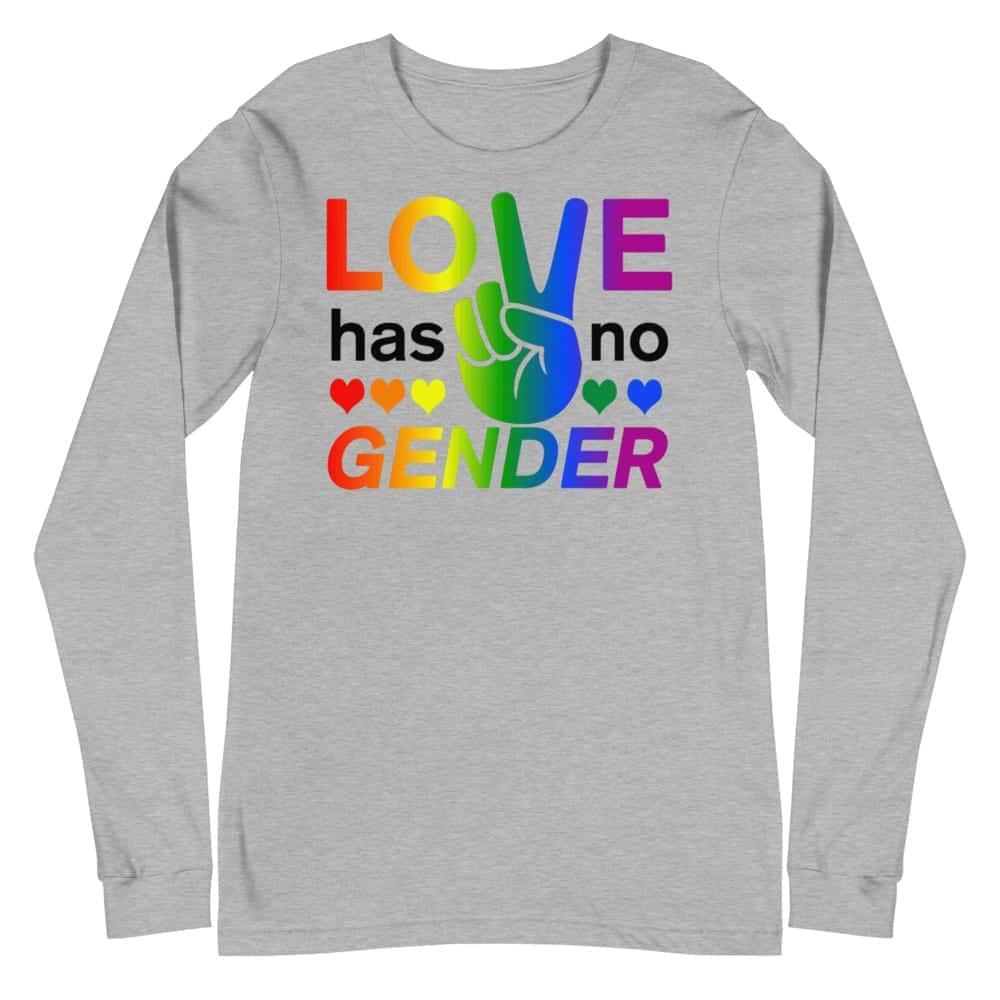 Love Has No Gender LGBTQ Long Sleeve Tshirt Grey