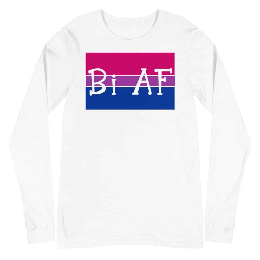Bi AF LGBTQ Long Sleeve Tshirt White