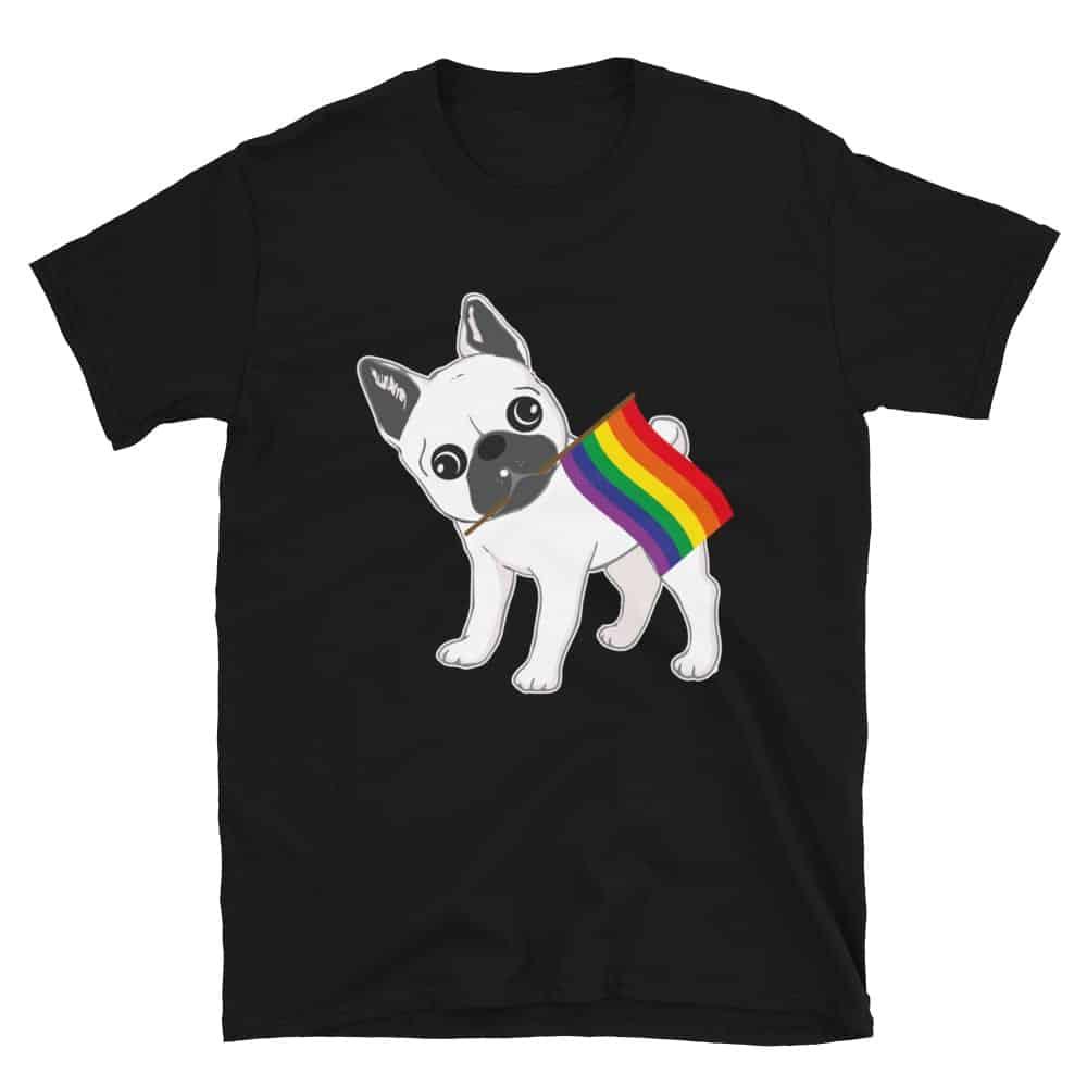 LGBT Pride French Bulldog Rainbow Flag Tshirt