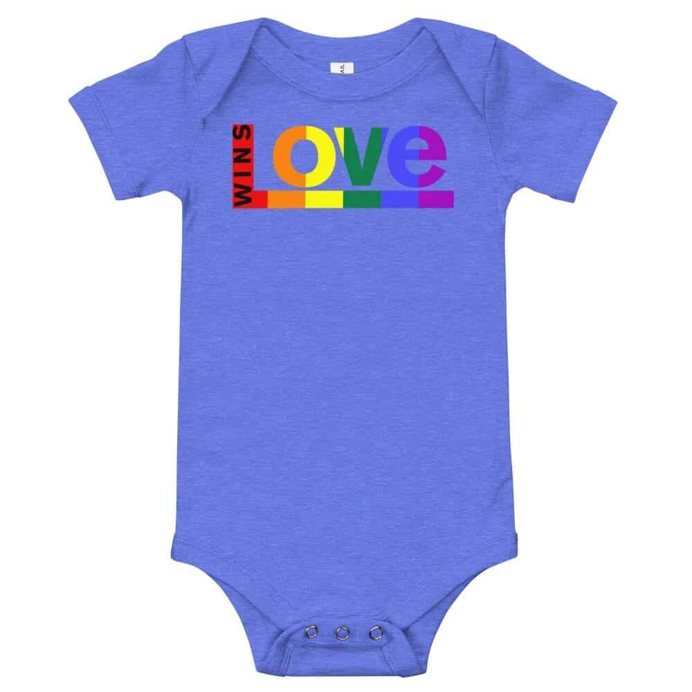 Love Wins! One piece Baby Bodysuit Blue