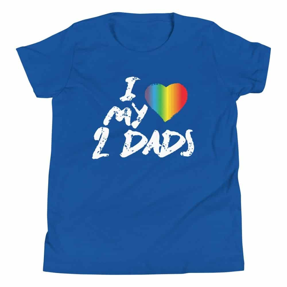 LGBTQ I Love My 2 Dads Kids Tshirt