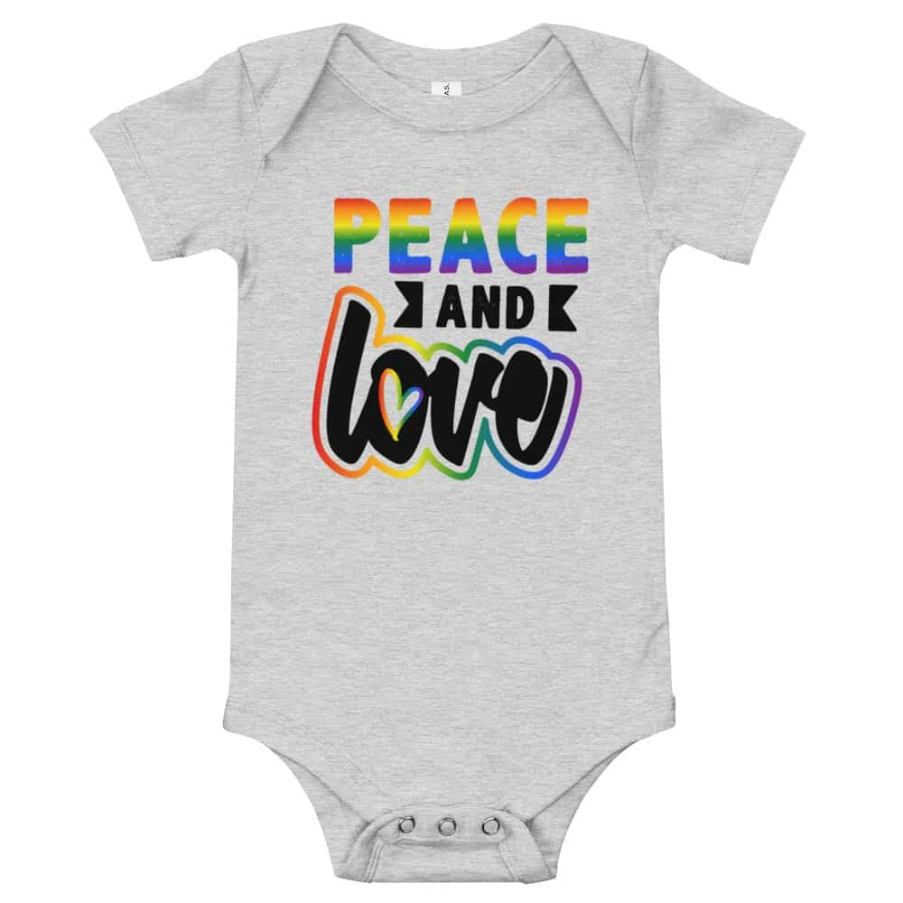Peace and Love Baby Bodysuit One piece Heather