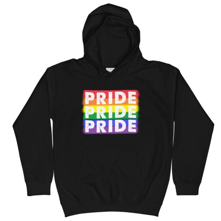 Rainbow Pride Kid Hoodie Blak