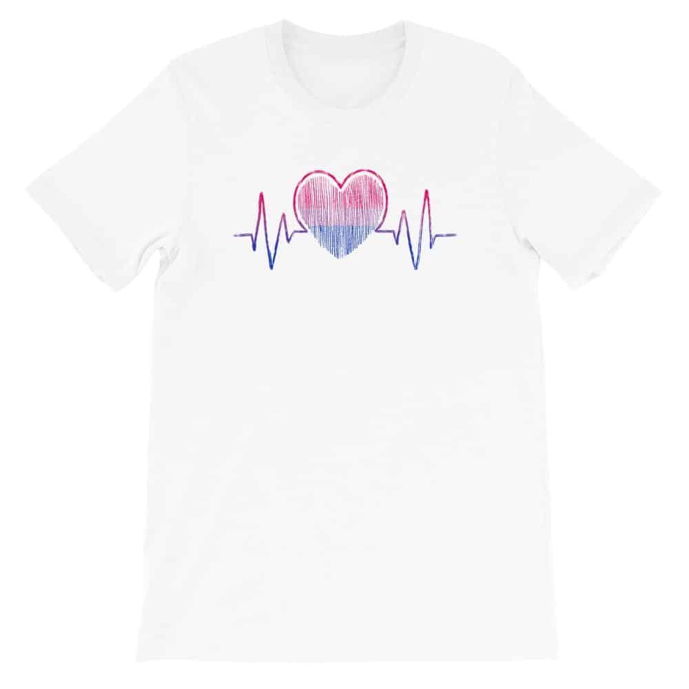 Bisexual Pride Heartbeat LGBTQ Tshirt