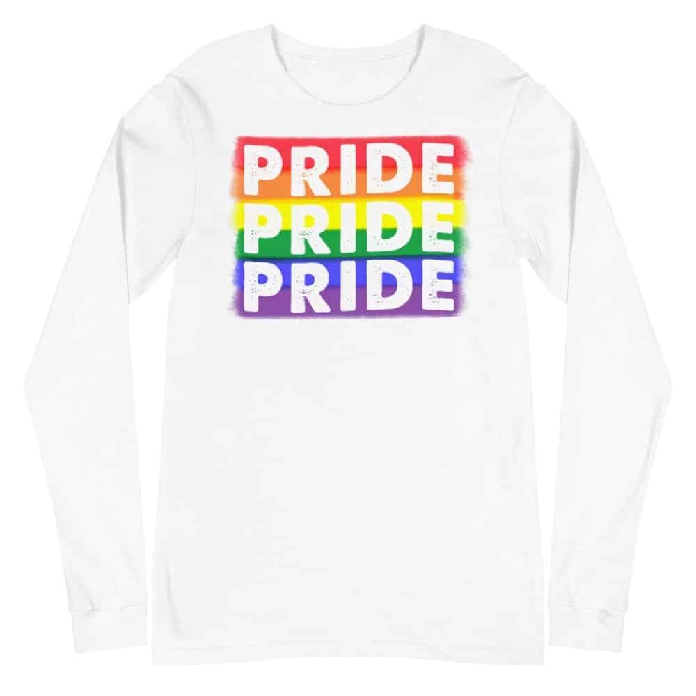PRIDE X3 LGBTQ Long Sleeve Tshirt White