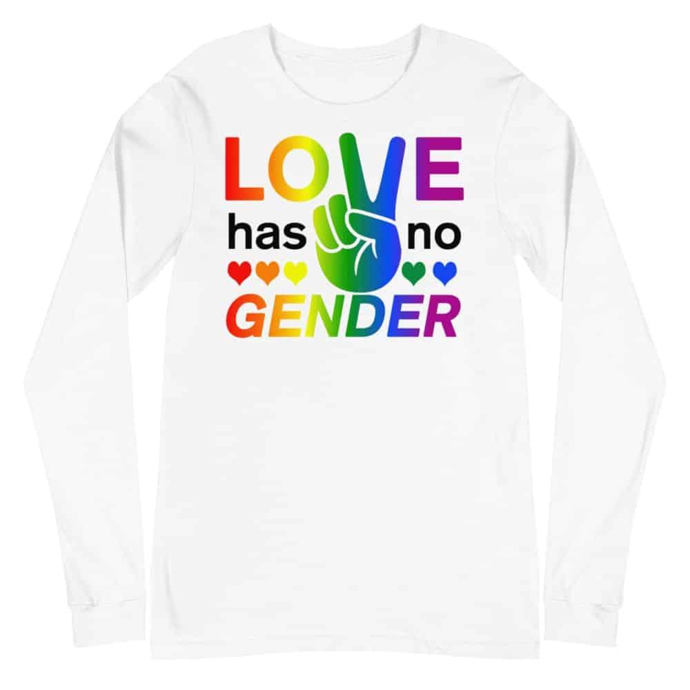 Love Has No Gender LGBTQ Long Sleeve Tshirt White