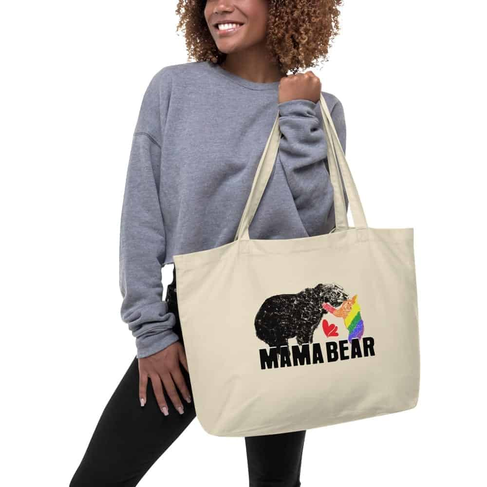 Mama Bear Gay Child Large Organic Cotton Tote Oyster