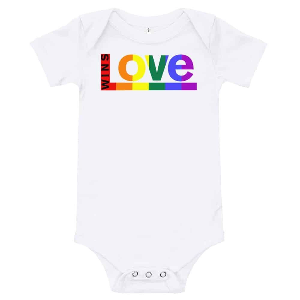 Love Wins! One piece Baby Bodysuit White