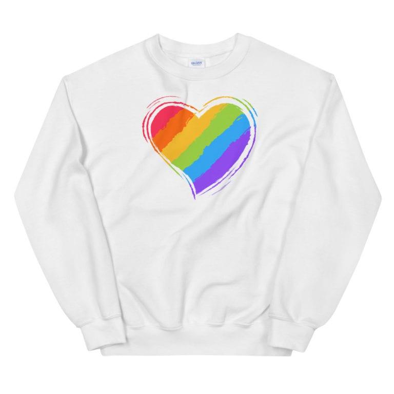 Rainbow Heart Sweatshirt White