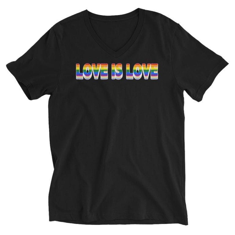 Love is Love LGBTQ Vneck Black
