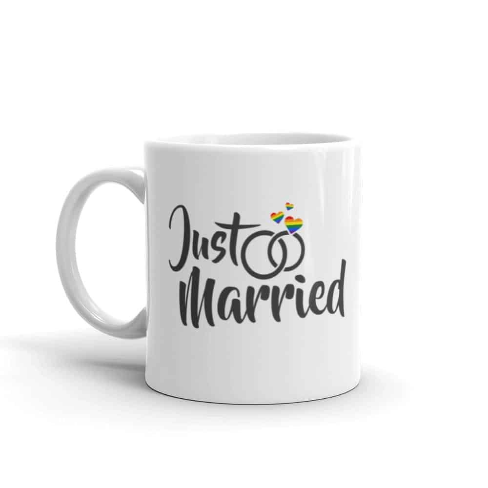 Just Married Rainbow Pride Coffee Mug