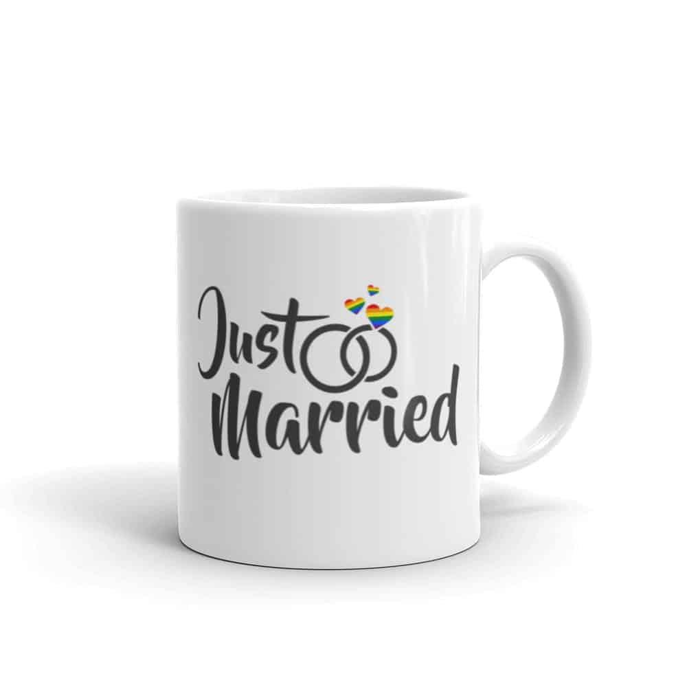 Just Married Rainbow Pride LGBTQ Coffee Mug