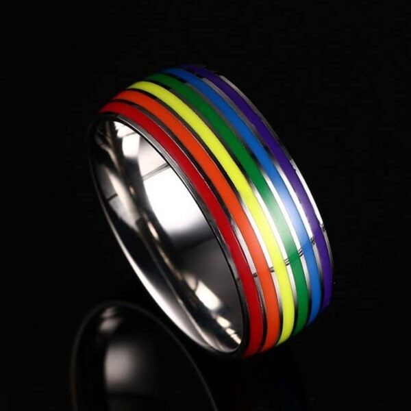 LGBTQ Rainbow Pride Novelty Stainless Steel Ring