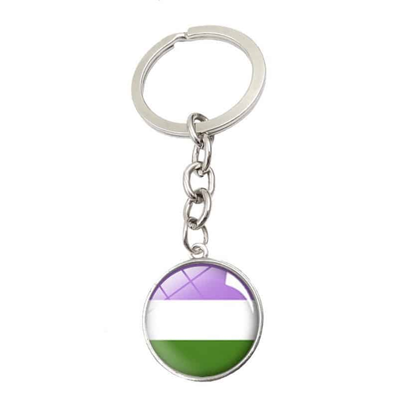 Genderqueer Glass Cabochon Pendant Keychain
