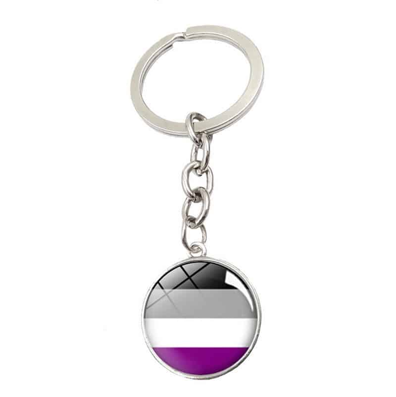 Asexual Glass Cabochon Pendant Keychain