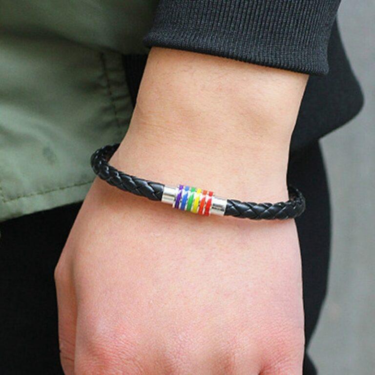 Leather Braided LGBTQ Rainbow Magnetic Bracelet