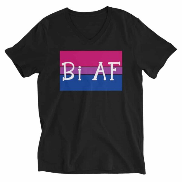 Bi AF LGBTQ Pride Vneck Tshirt Black