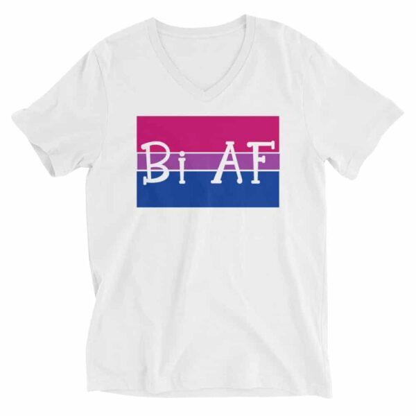 Bi AF LGBTQ Pride Vneck Tshirt White