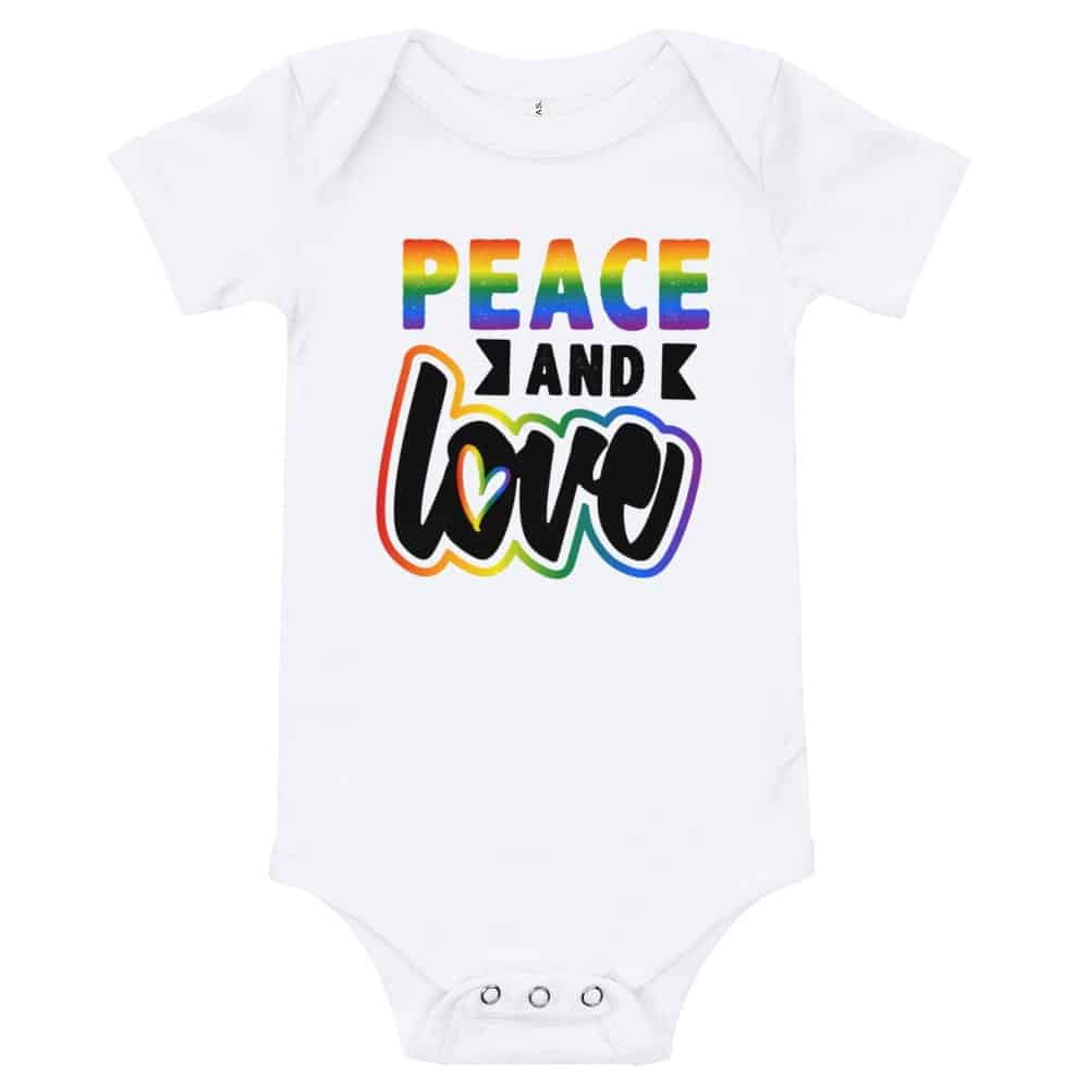 Peace and Love Baby Bodysuit One piece White