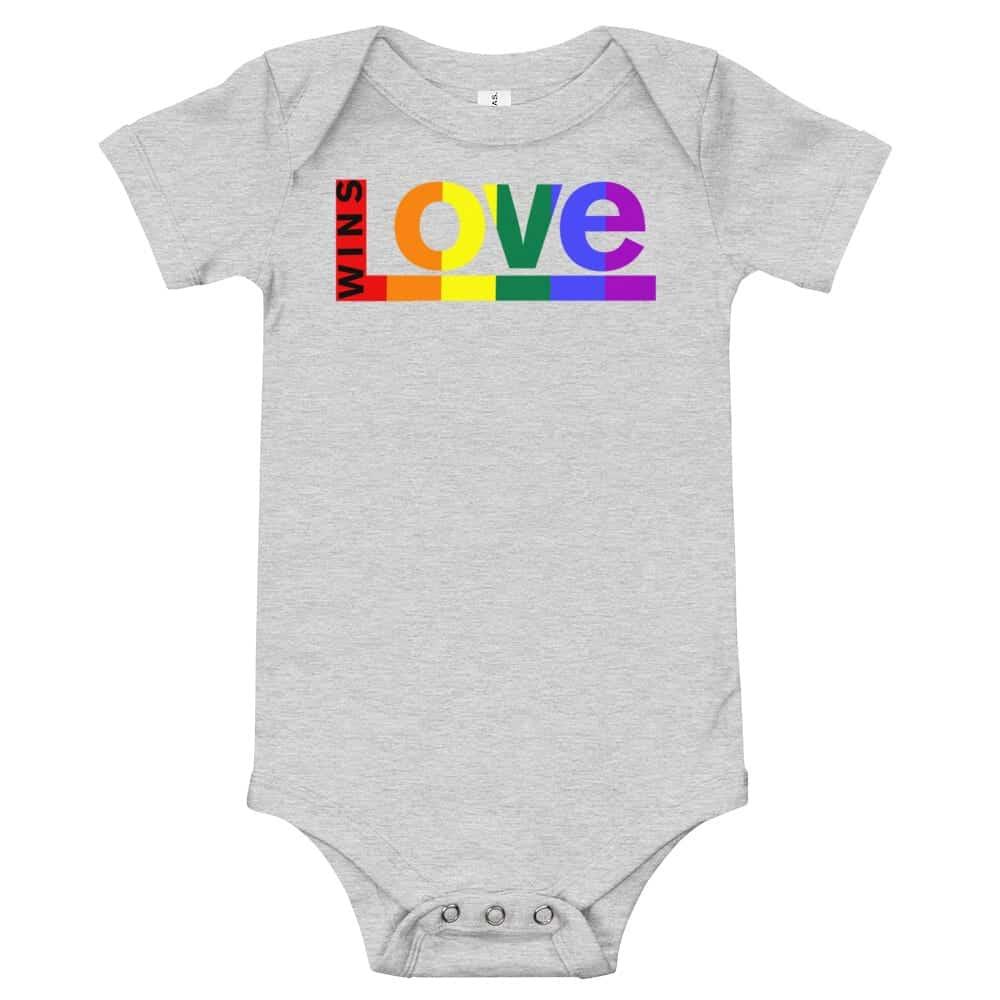 Love Wins! One piece Baby Bodysuit Grey