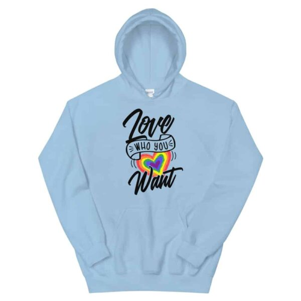 Love Who You Want LGBTQ Heavyweight Hoodie Blue