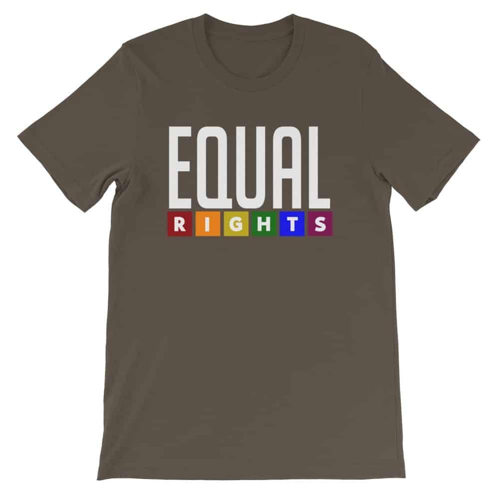 EQUAL RIGHTS LGBTQ Pride Tshirt Brown