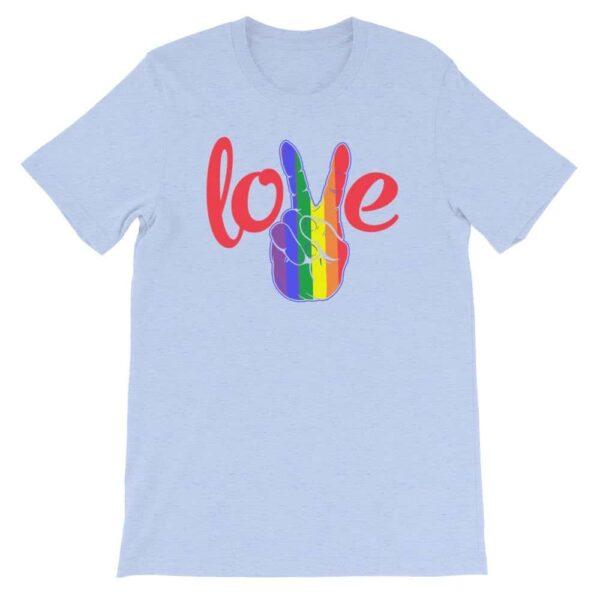 Peace Love LGBTQ PRIDE Tshirt Light Blue