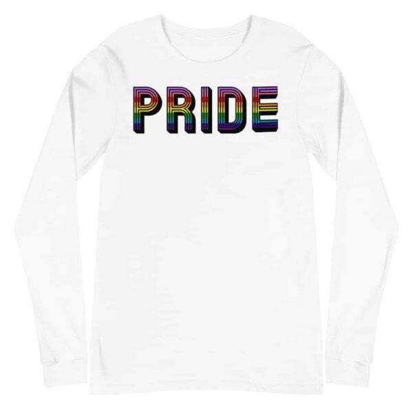 Retro PRIDE LGBTQ Long Sleeve Tshirt White