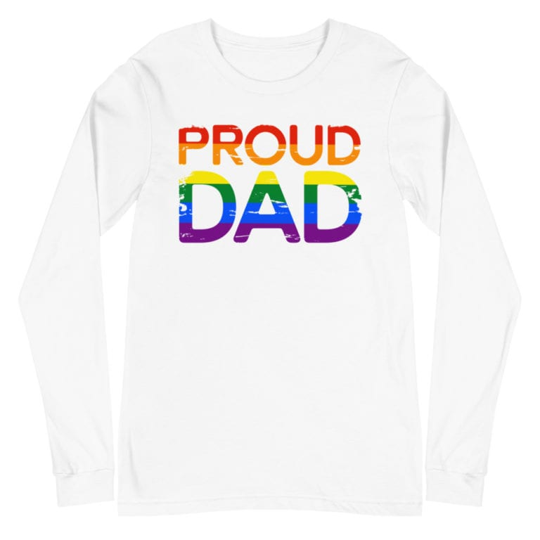 Rainbow Pride Proud Dad Long Sleeve Tshirt