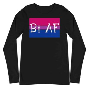 Bi AF LGBTQ Long Sleeve Tshirt Black