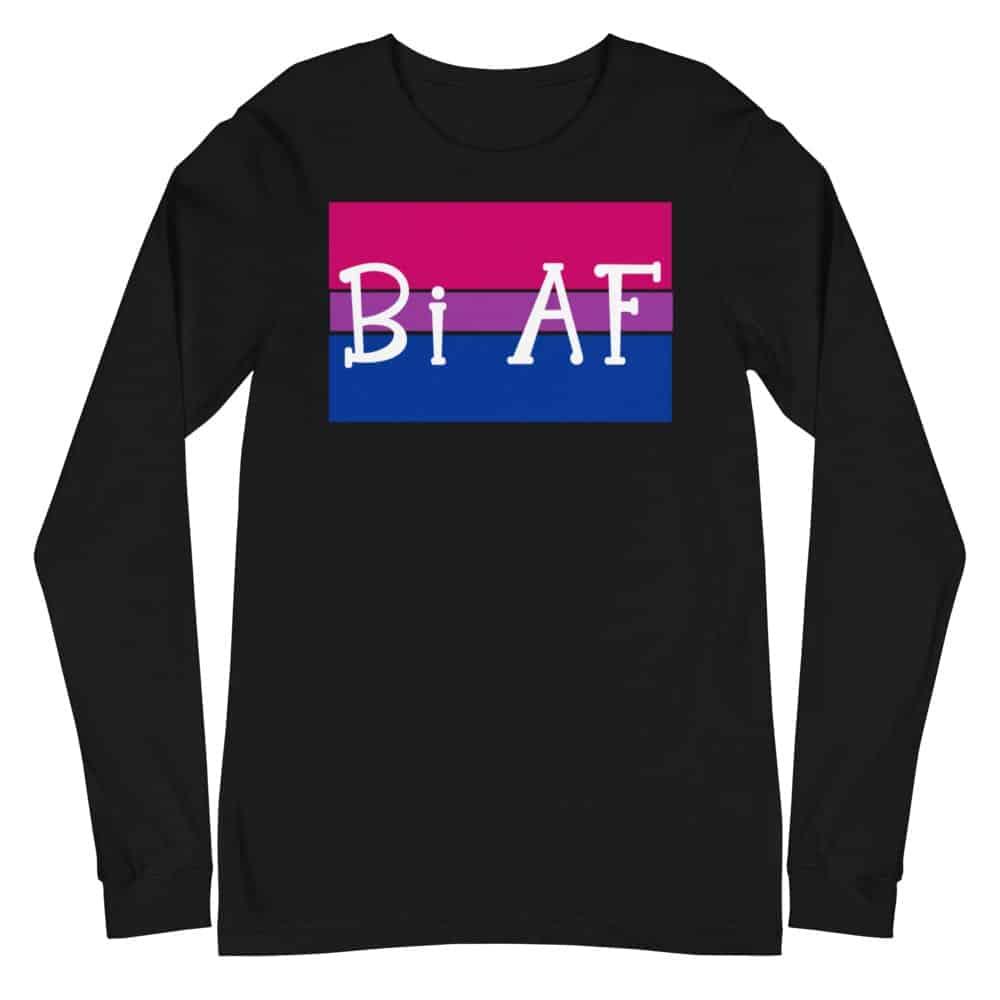 Bi AF LGBTQ Long Sleeve Tshirt Black