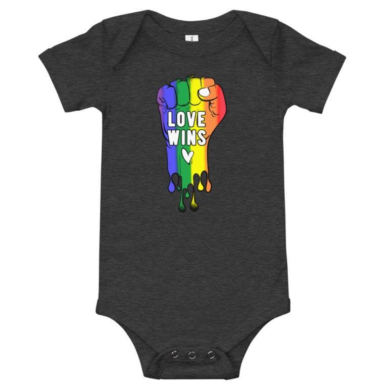 Love Wins Baby Bodysuit Onepiece Dark Heather