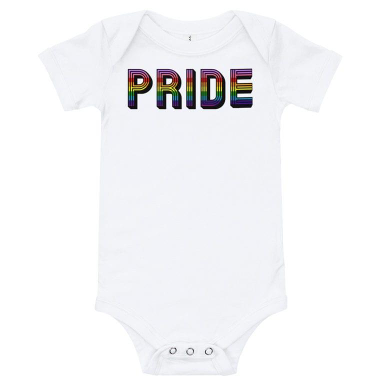 Retro Pride LGBTQ Onepiece Baby Bodysuit White