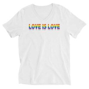 Love is Love LGBTQ Vneck White