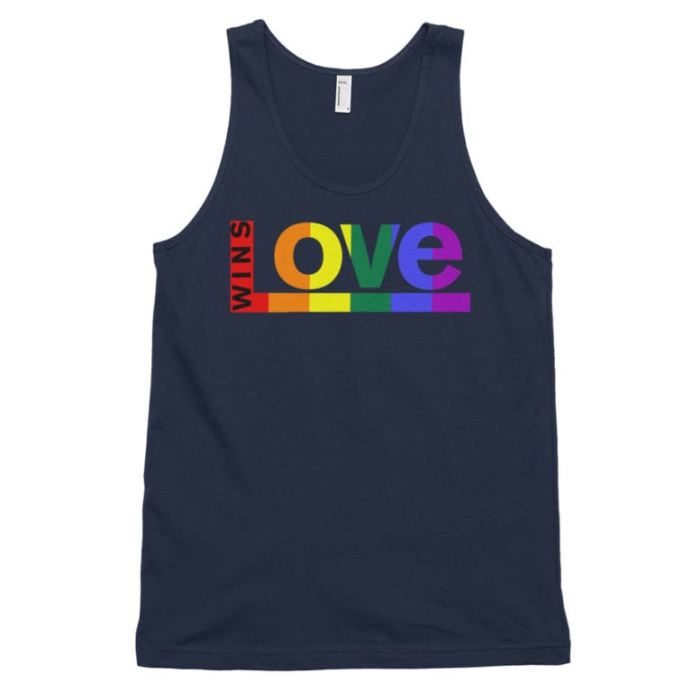 Love Wins Rainbow Tank Top Navy