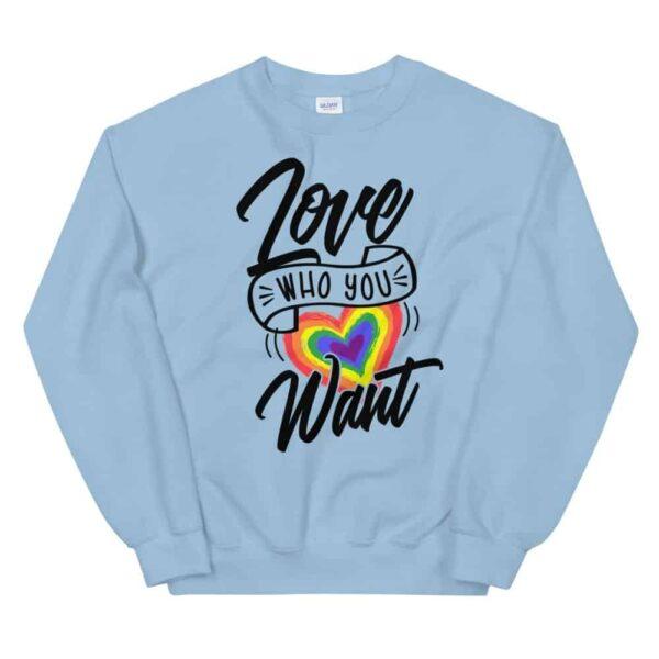 Love Who You Want LGBTQ Sweatshirt Light Blue