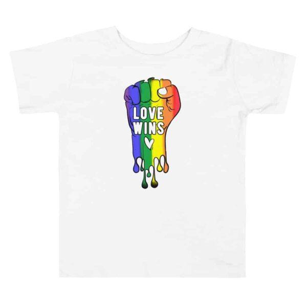 Love Wins LGBTQ Pride Toddler Tshirt White
