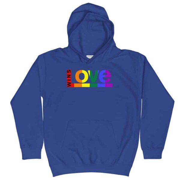 Retro Pride LGBTQ Kid Hoodie Blue