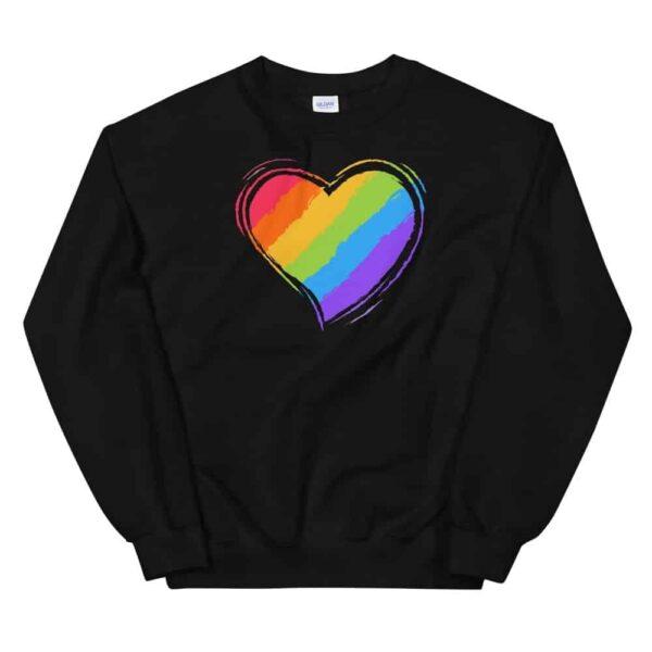 Rainbow Heart Sweatshirt Black