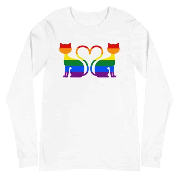 Cat Heart LGBTQ Pride Long Sleeve Tshirt