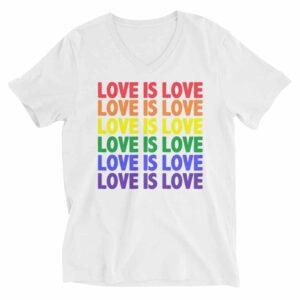 Love is Love Pride Vneck Tshirt White