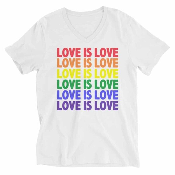 Love is Love Pride Vneck Tshirt White