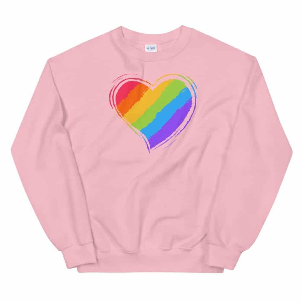 Rainbow Heart Sweatshirt Pink