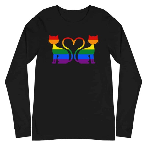 Cat Heart Rainbow Pride Long Sleeve Tshirt