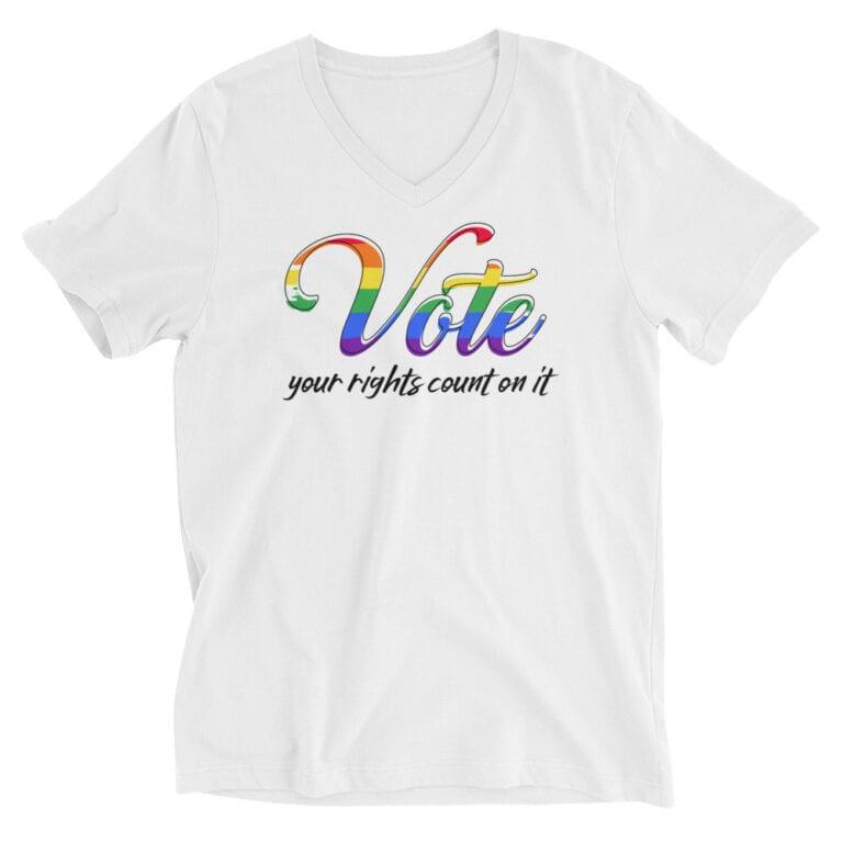 LGBTQ Vote Your Rights Pride Vneck Tshir