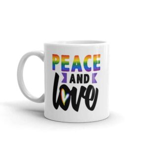 Peace and Love LGBTQ Pride Coffee Mug