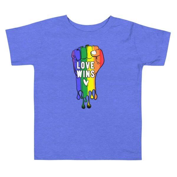 Love Wins LGBTQ Pride Toddler Tshirt Blue