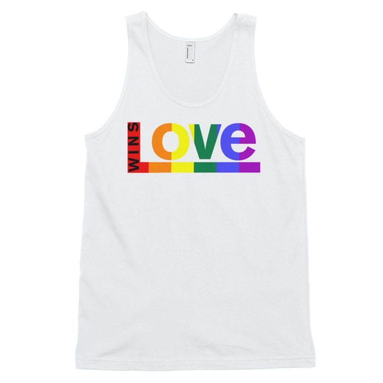 Love Wins Rainbow Tank Top White