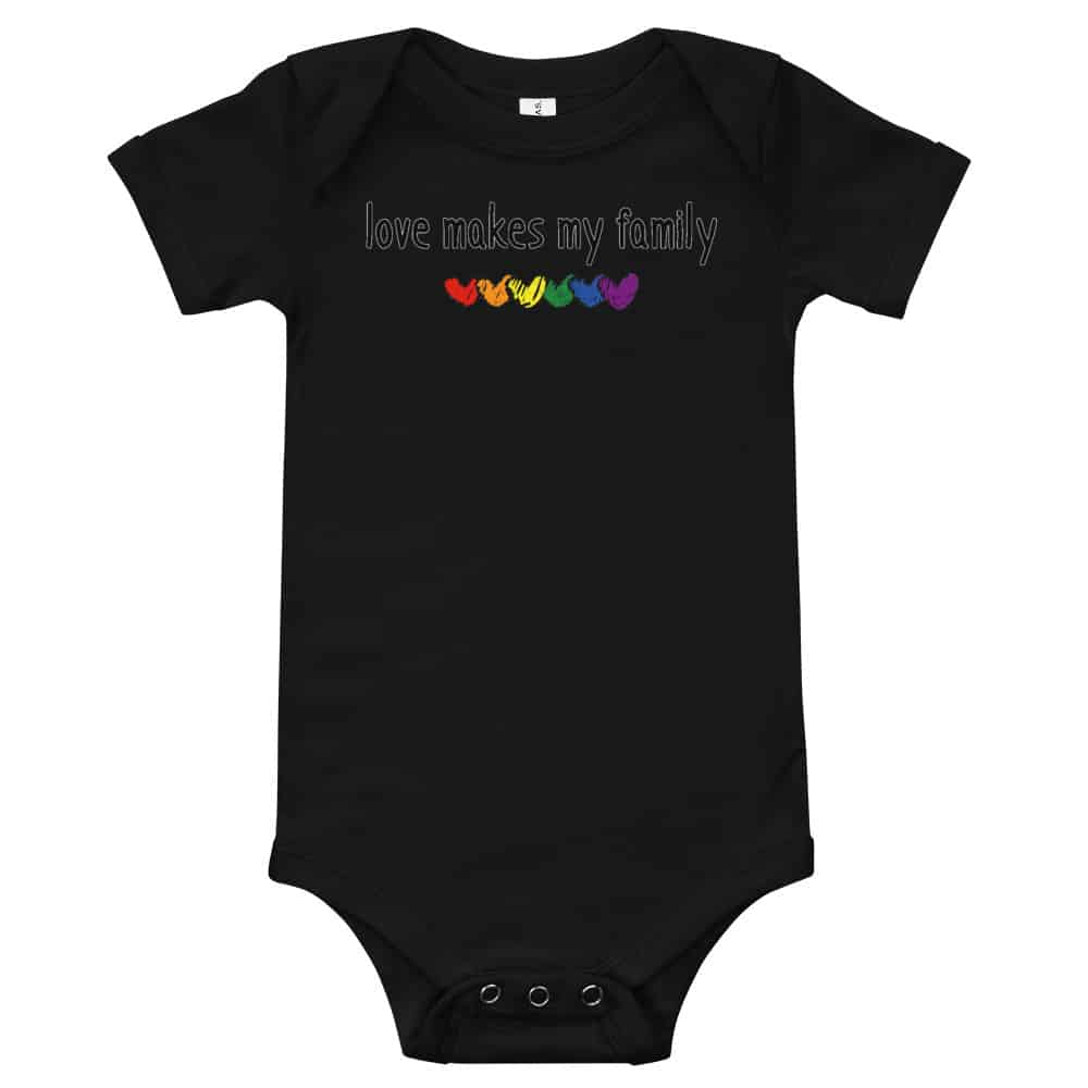 Family LGBTQ Pride Baby One Piece Bodysuit Love Makes My Family